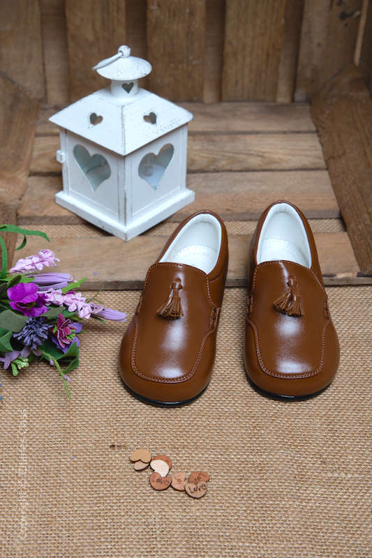 Boys Brown Matt Tassel Leather Loafers