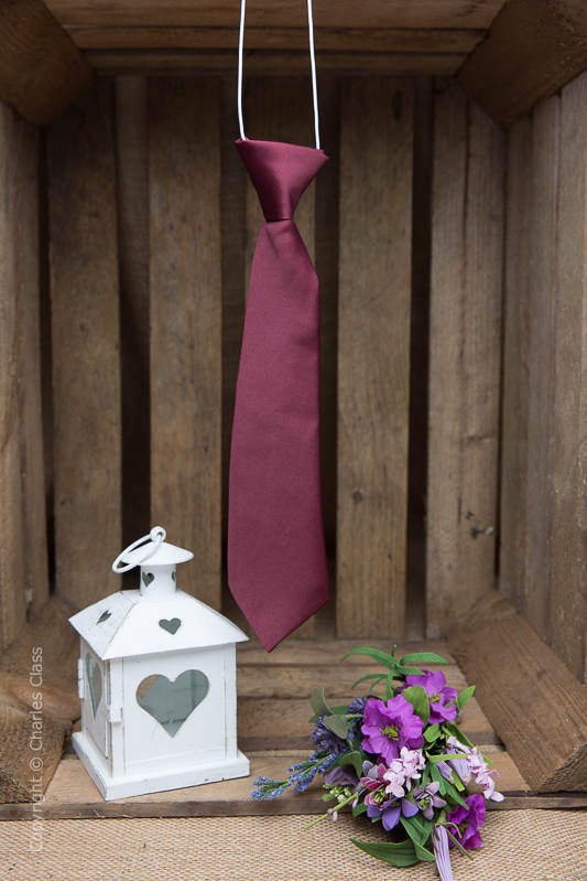 Boys Burgundy Elasticated Satin Tie