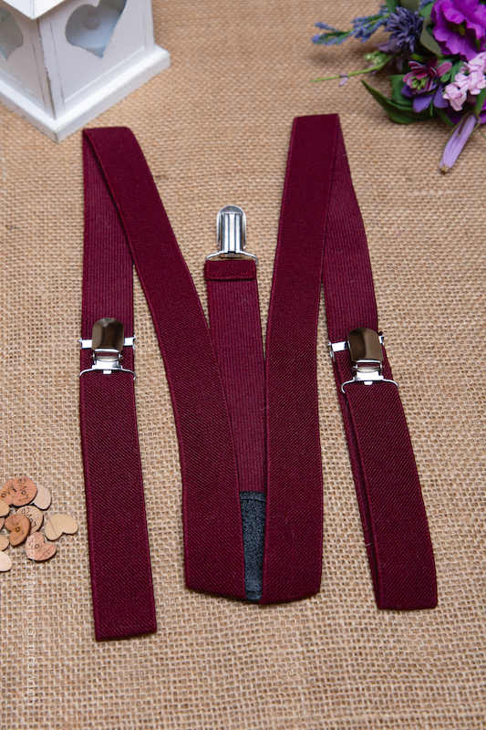 Boys Burgundy Adjustable & Elasticated Y-Back Braces