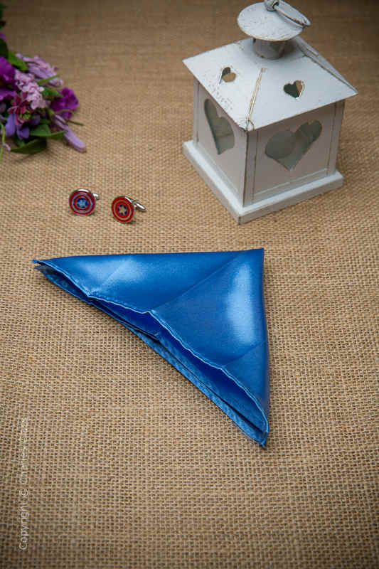 Boys Cornflower Blue Solid Satin Pocket Square