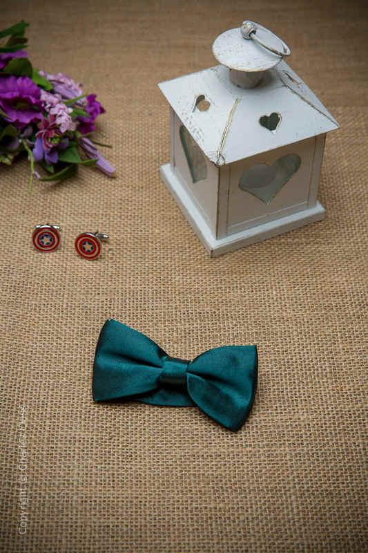 Boys Forest Green Adjustable Satin Dickie Bow