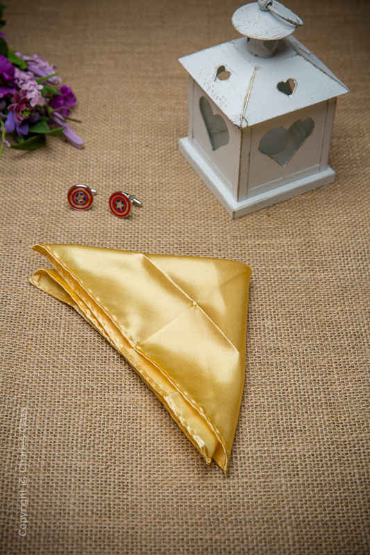 Boys Gold Solid Satin Pocket Square