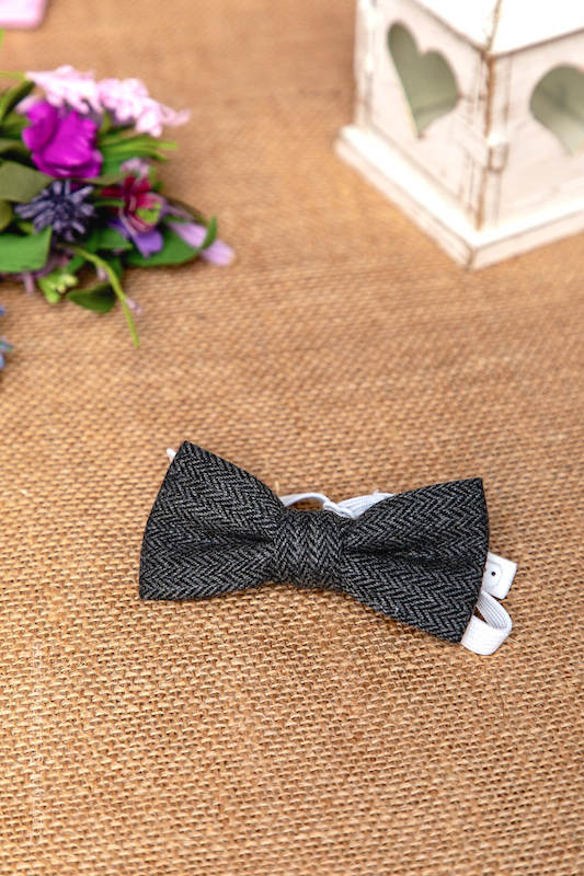 Boys Grey Herringbone Adjustable 100% Wool Dickie Bow