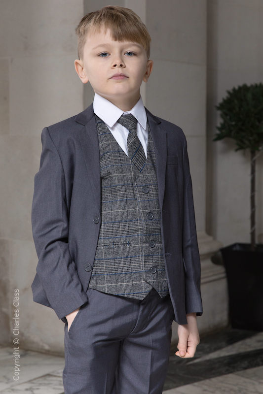 Boys Grey Suit with Blue Check Tweed Waistcoat - Tom