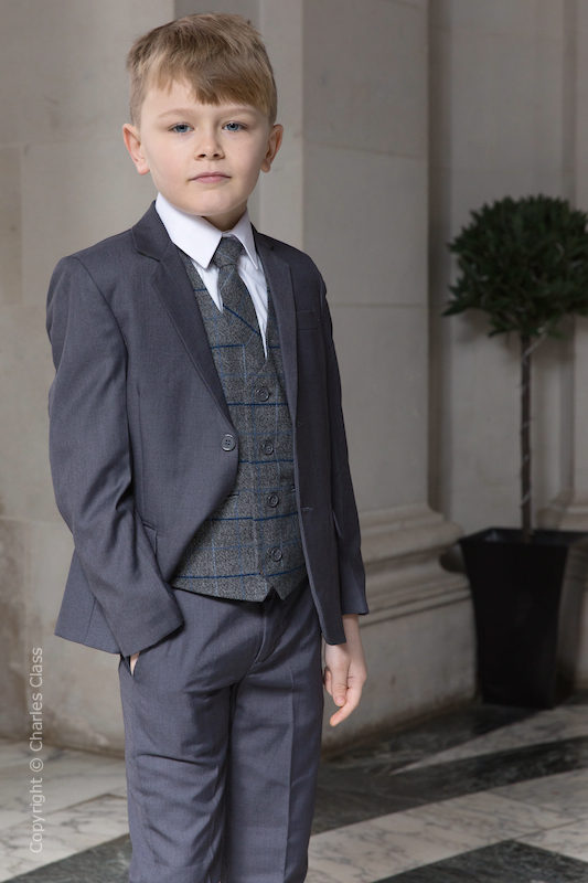 Boys Grey Suit with Blue Large Check Tweed Waistcoat - Tom
