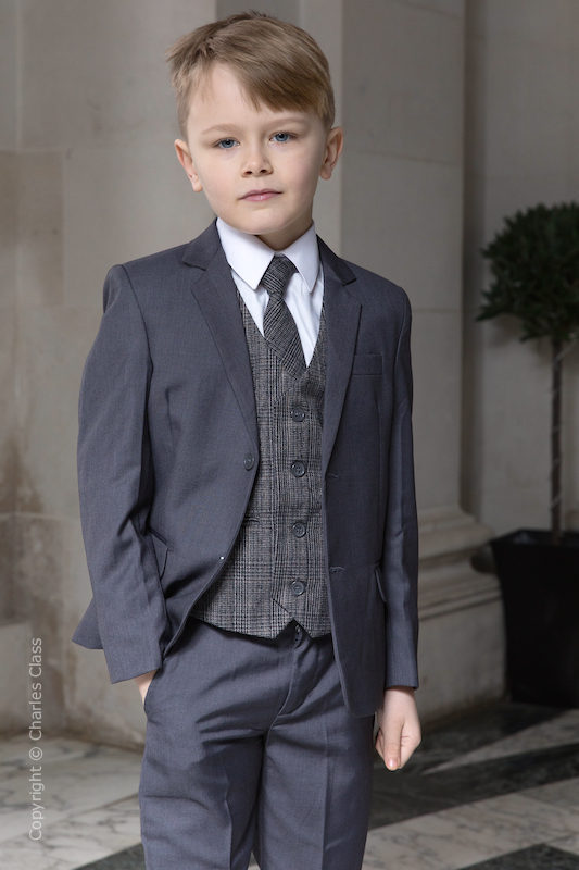 Boys Grey Suit with Orange Check Tweed Waistcoat - Tom