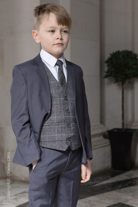 Boys Grey Suit with Red Check Tweed Waistcoat - Tom
