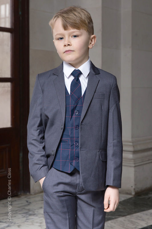 Boys Grey Suit with Navy Check Waistcoat - Tom