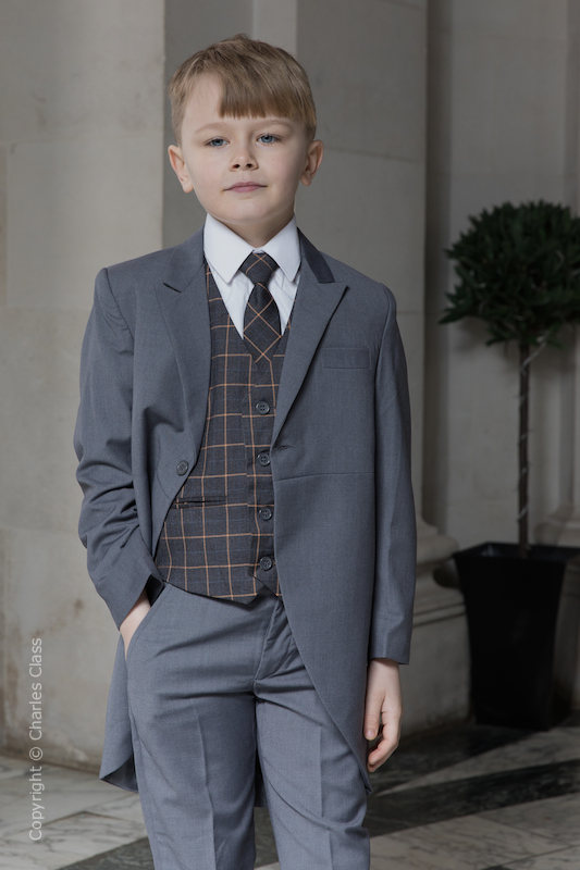 Boys Grey Tail Suit with Orange Check Waistcoat - Archie