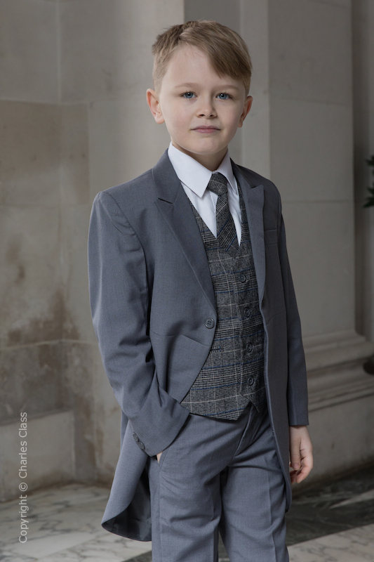 Boys Grey Tail Suit with Blue Check Tweed Waistcoat - Archie