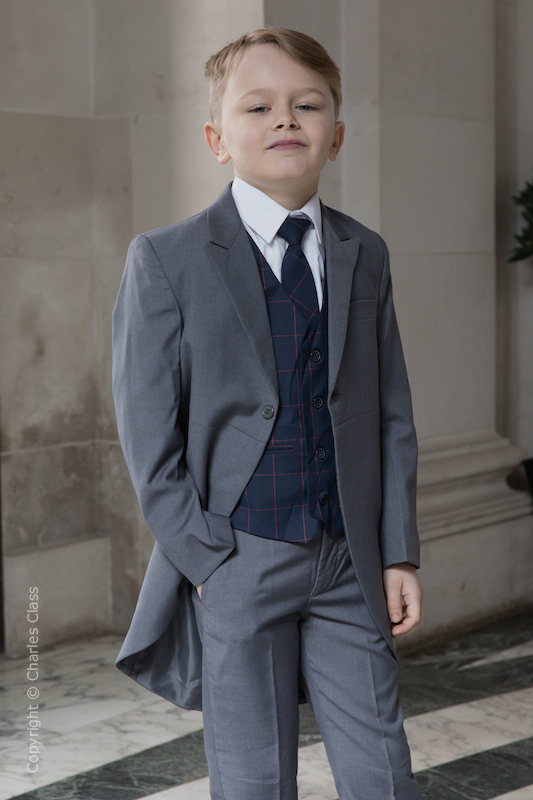 Boys Grey Tail Suit with Navy Check Waistcoat - Archie