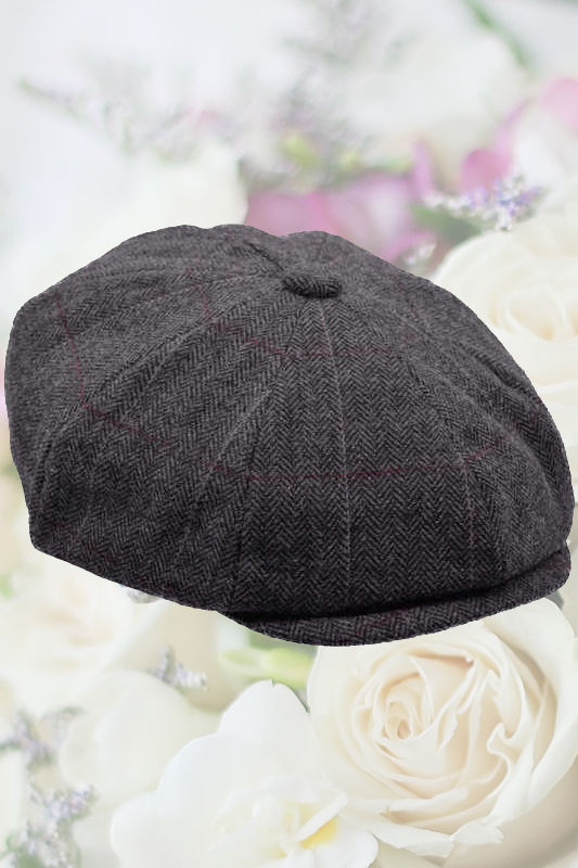 Older Boys Grey Herringbone Tweed Check Newsboy Cap