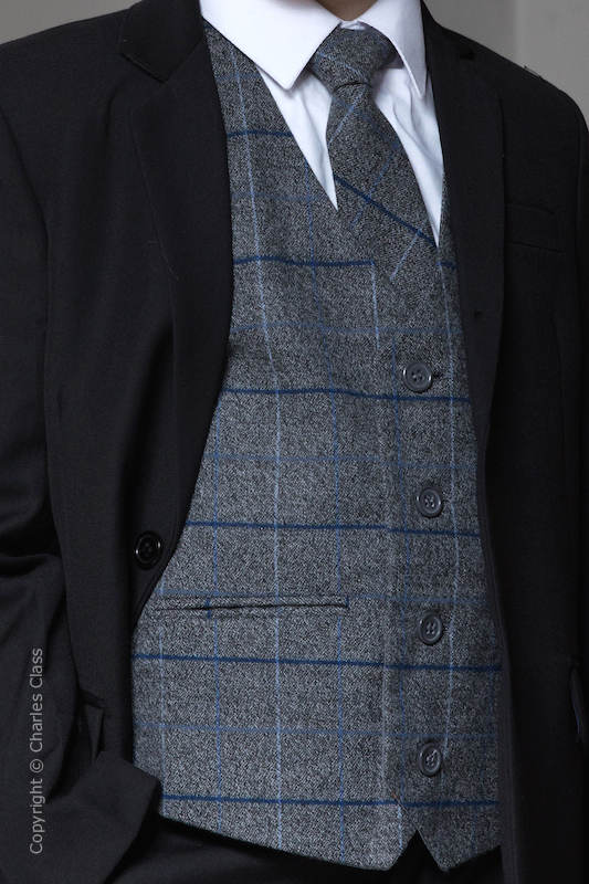 Boys Grey Tweed with Blue Large Check Waistcoat & Tie