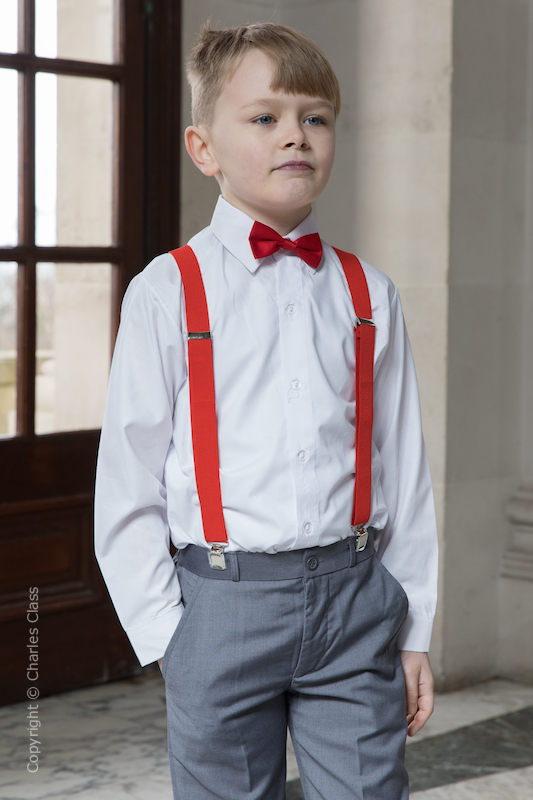 Boys Grey Trouser Suit with Red Braces - Guy