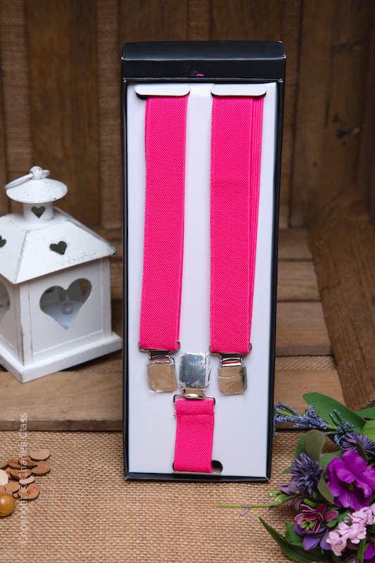 Boys Hot Pink Formal Adjustable Braces in Gift Box