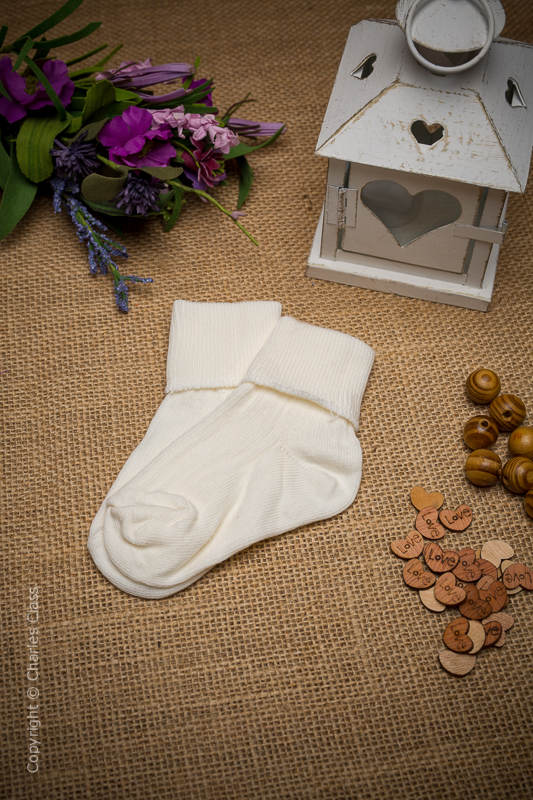 Boys Ivory Plain Cotton Wedding Socks