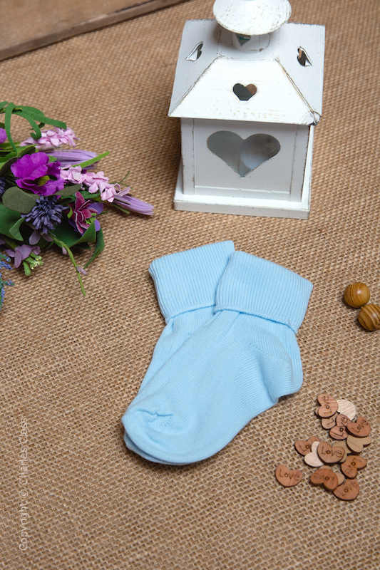 Boys Light Blue Plain Cotton Wedding Socks