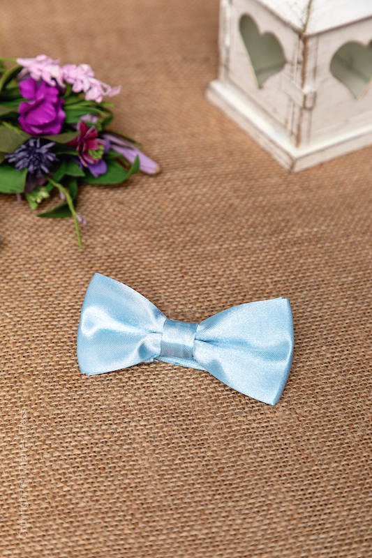 Boys Light Blue Adjustable Satin Dickie Bow
