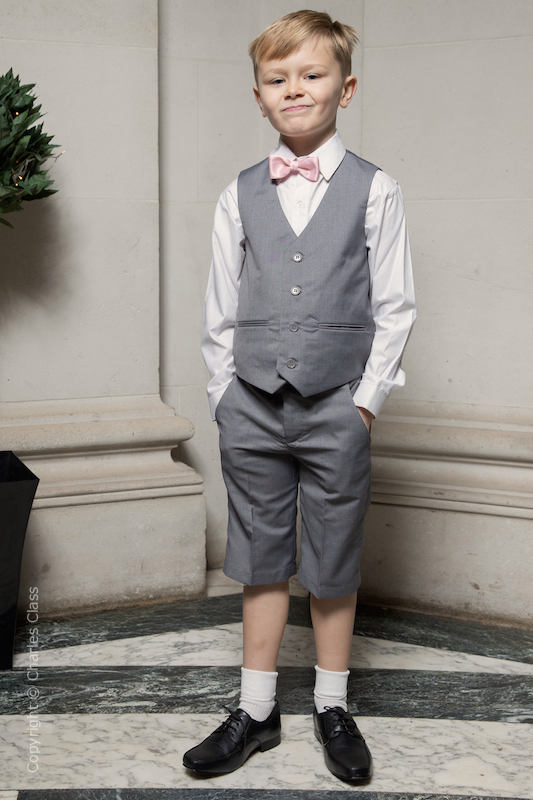 Boys Light Grey Shorts Suit with Pale Pink Dickie Bow - Harry