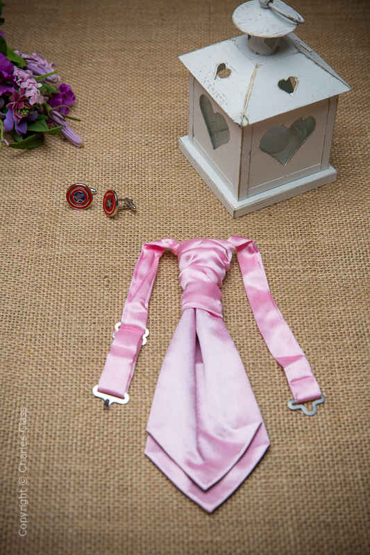 Boys Light Pink Ruche Satin Wedding Cravat