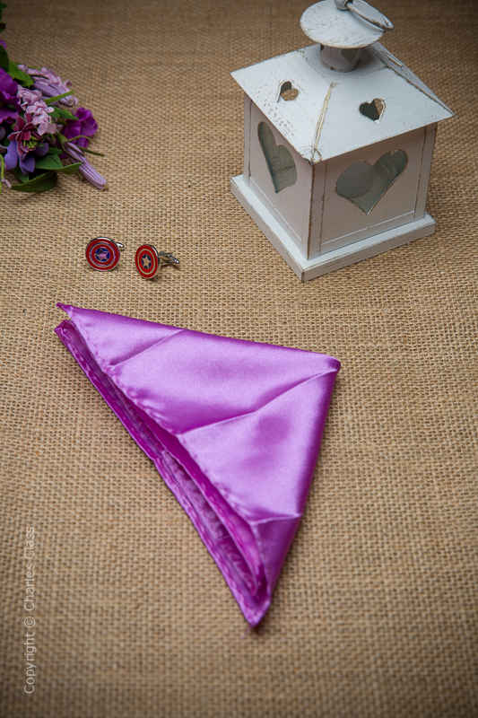 Boys Light Purple Solid Satin Pocket Square