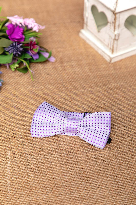 Boys Lilac Polka Dot Adjustable Satin Dickie Bow