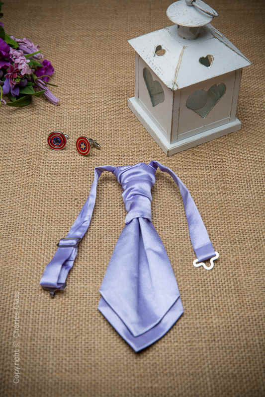 Boys Lilac Ruche Satin Wedding Cravat