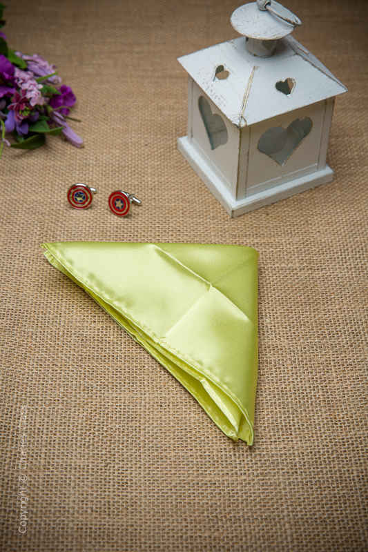 Boys Lime Green Solid Satin Pocket Square