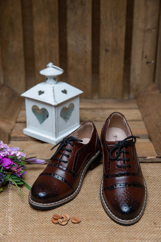 Boys Maroon Oxford Leather Pointed Shoes