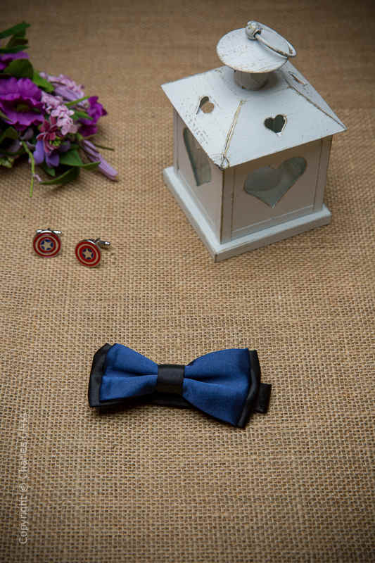 Boys Navy Two Tone Adjustable Satin Dickie Bow