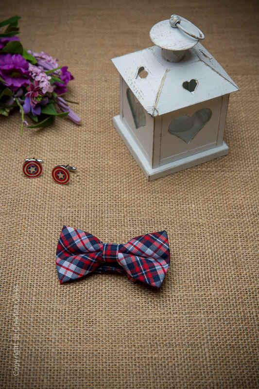 Boys Navy & Red Tartan Adjustable Cotton Dickie Bow
