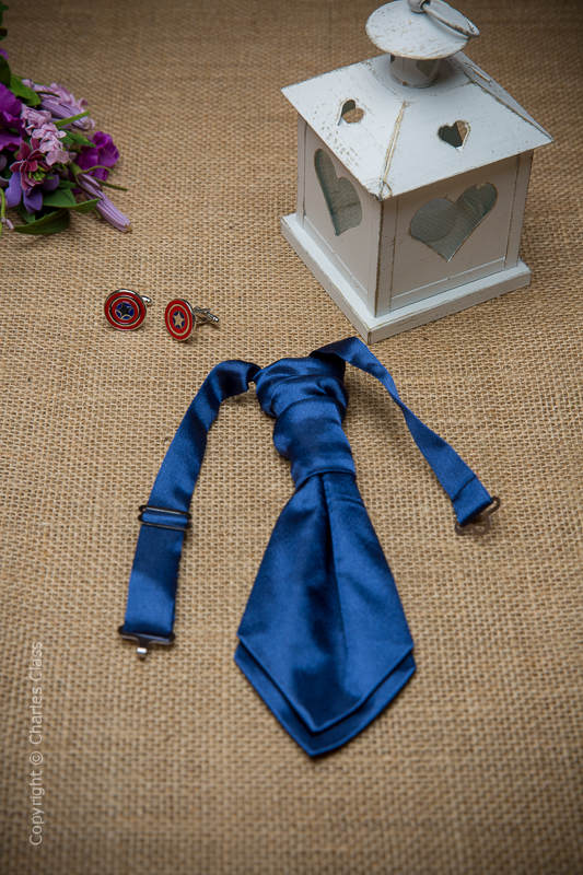 Boys Navy Ruche Satin Wedding Cravat
