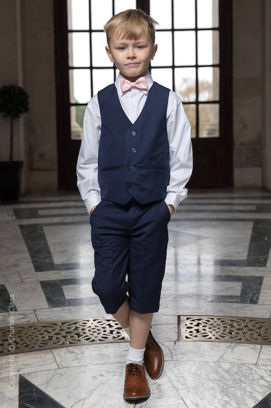 Boys Navy Shorts Suit with Pale Pink Dickie Bow - Leo