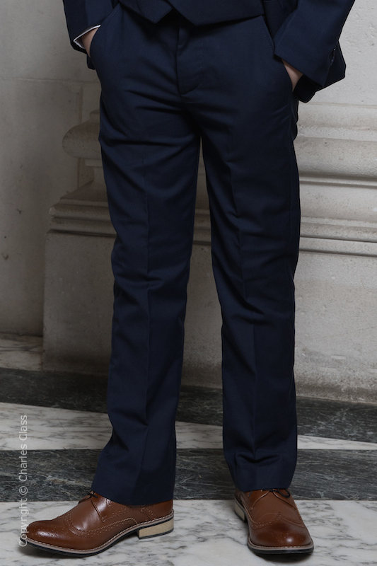 Boys Navy Slim Fit Trousers