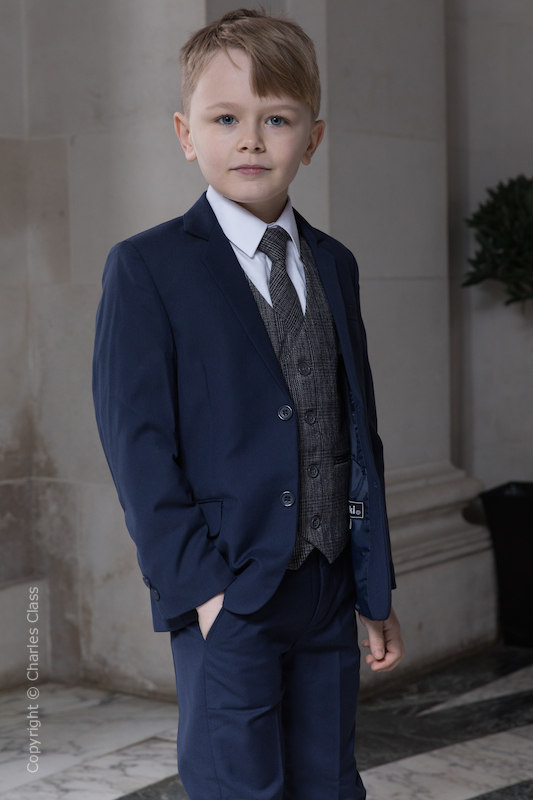 Boys Navy Suit with Orange Check Tweed Waistcoat - Ashby