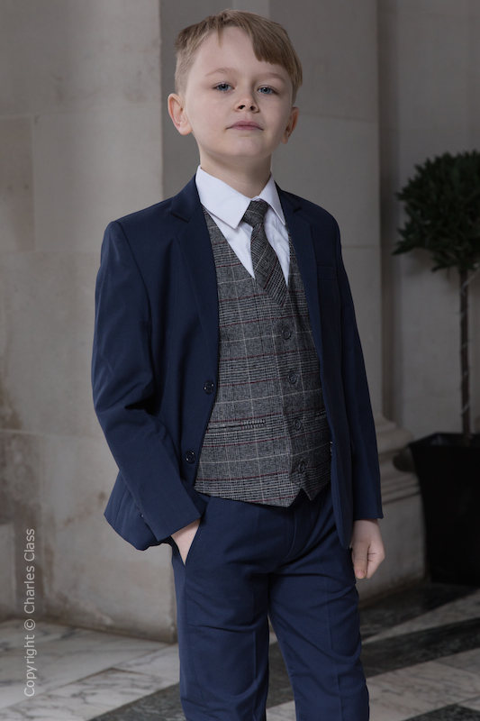 Boys Navy Suit with Red Check Tweed Waistcoat - Ashby