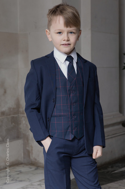 Boys Navy Suit with Red Check Waistcoat - Ashby