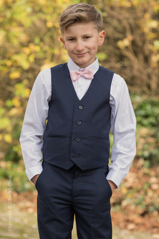 Boys Navy Trouser Suit with Pale Pink Dickie Bow - Joseph