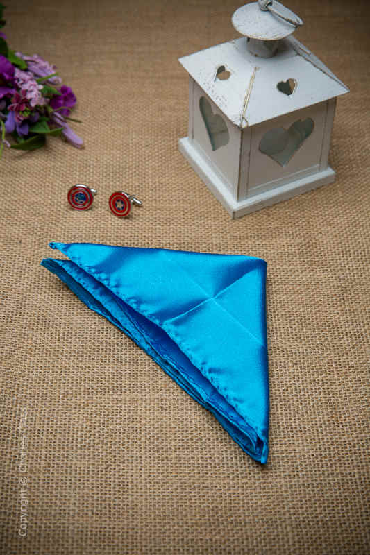 Boys Peacock Blue Solid Satin Pocket Square