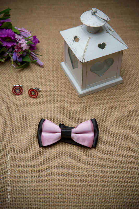 Boys Pink Two Tone Adjustable Satin Dickie Bow