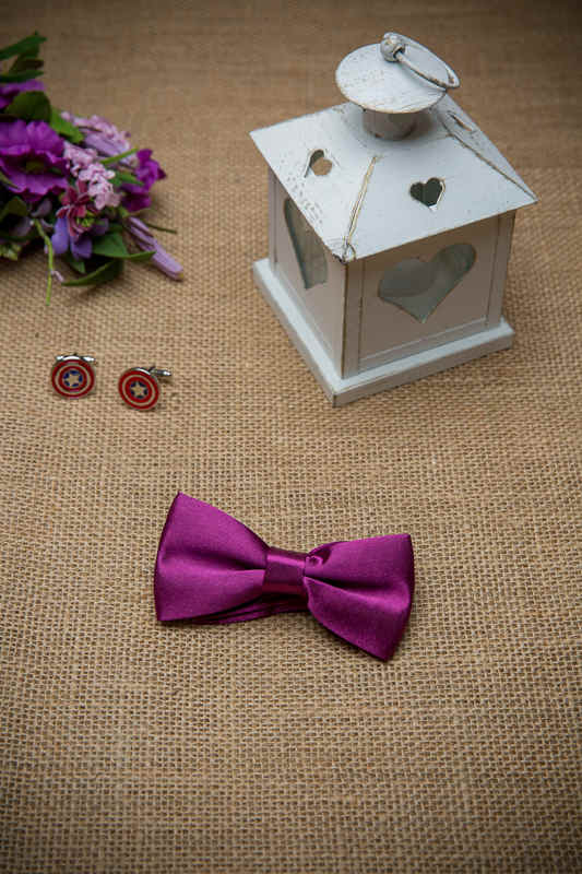 Boys Plum Adjustable Satin Dickie Bow