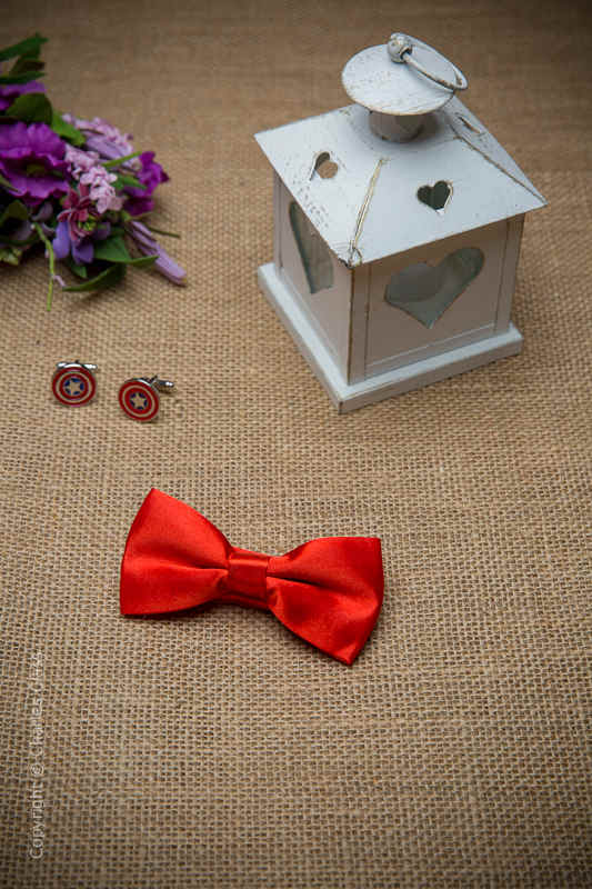 Boys Poppy Red Adjustable Satin Dickie Bow