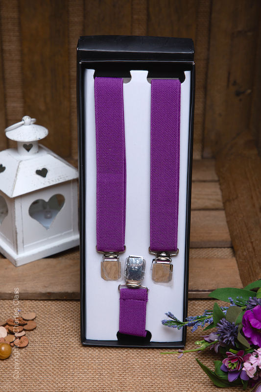 Boys Purple Formal Adjustable Braces in Gift Box