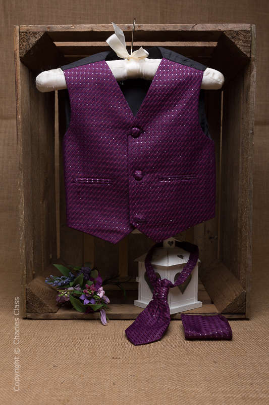 Boys Purple 3 Piece Diamond Waistcoat Set