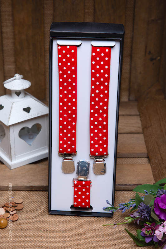 Boys Red & White Spot Adjustable Braces in Gift Box