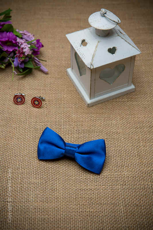 Boys Royal Blue Adjustable Satin Dickie Bow