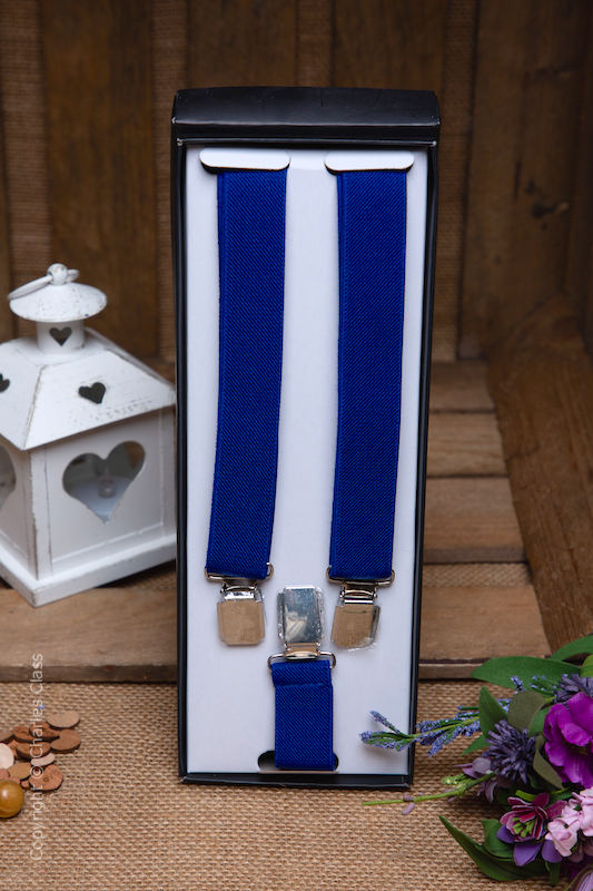 Boys Royal Blue Formal Adjustable Braces in Gift Box