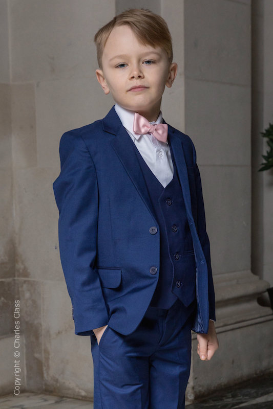 Boys Royal Blue Suit with Pale Pink Bow Tie - George