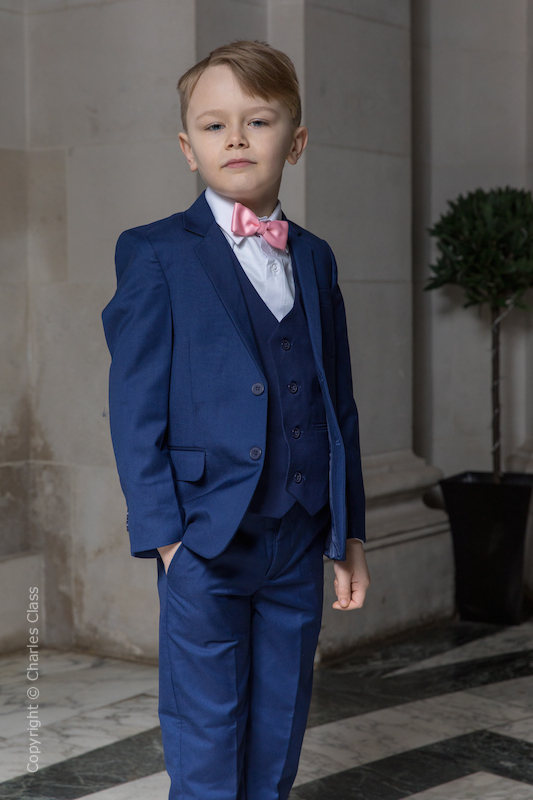 Boys Royal Blue Suit with Baby Pink Bow Tie - George