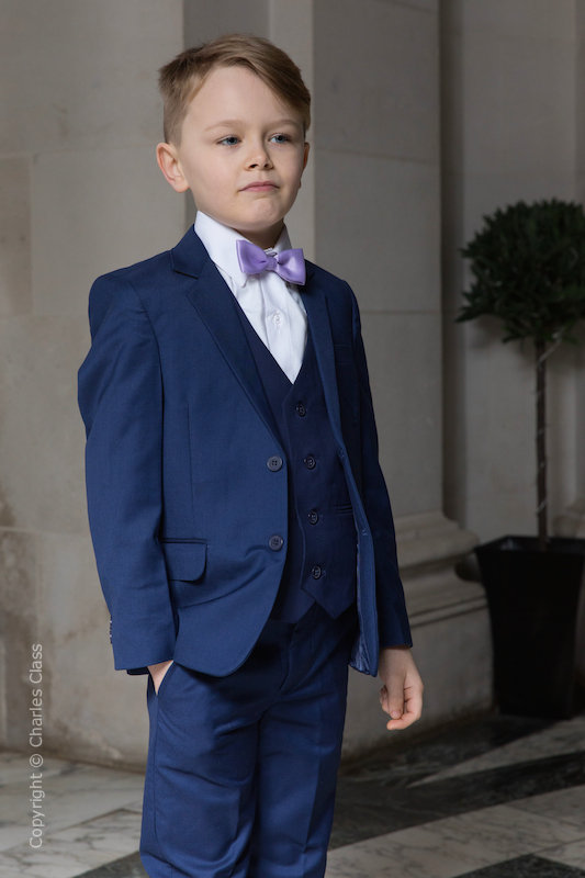 Boys Royal Blue Suit with Lilac Bow Tie - George